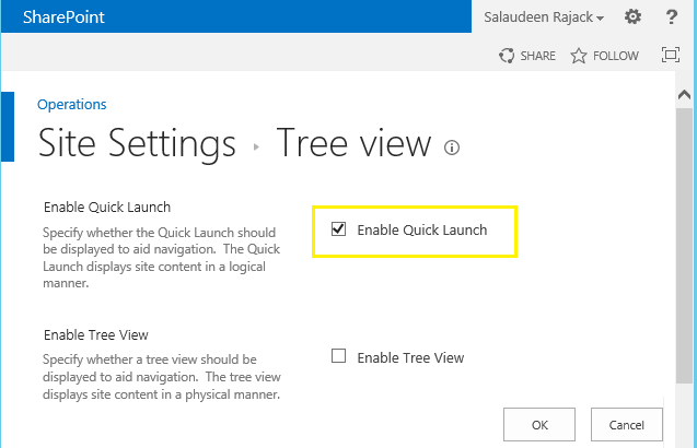 quick launch sharepoint 2013 remove