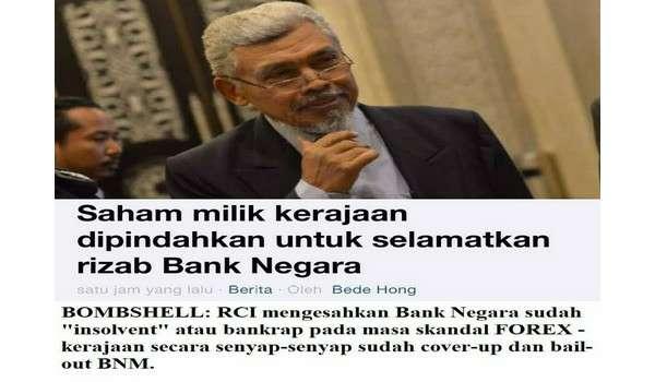 Bank Negara Malaysia Pernah Bankrap Semasa Pemerintahan Tun Mahathir