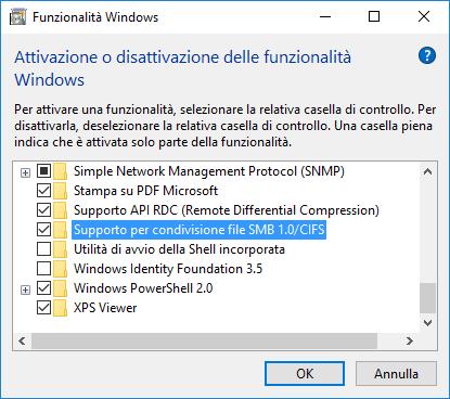 Supporto per condivisione file SMB 1.0/CIFS