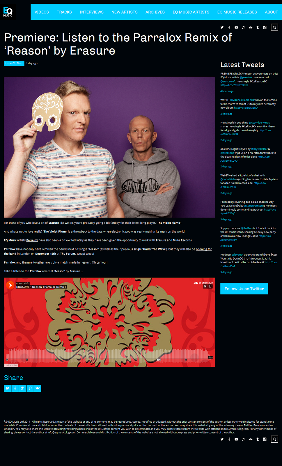 Premiere: Listen to the Parralox Remix of 'Reason' by Erasure