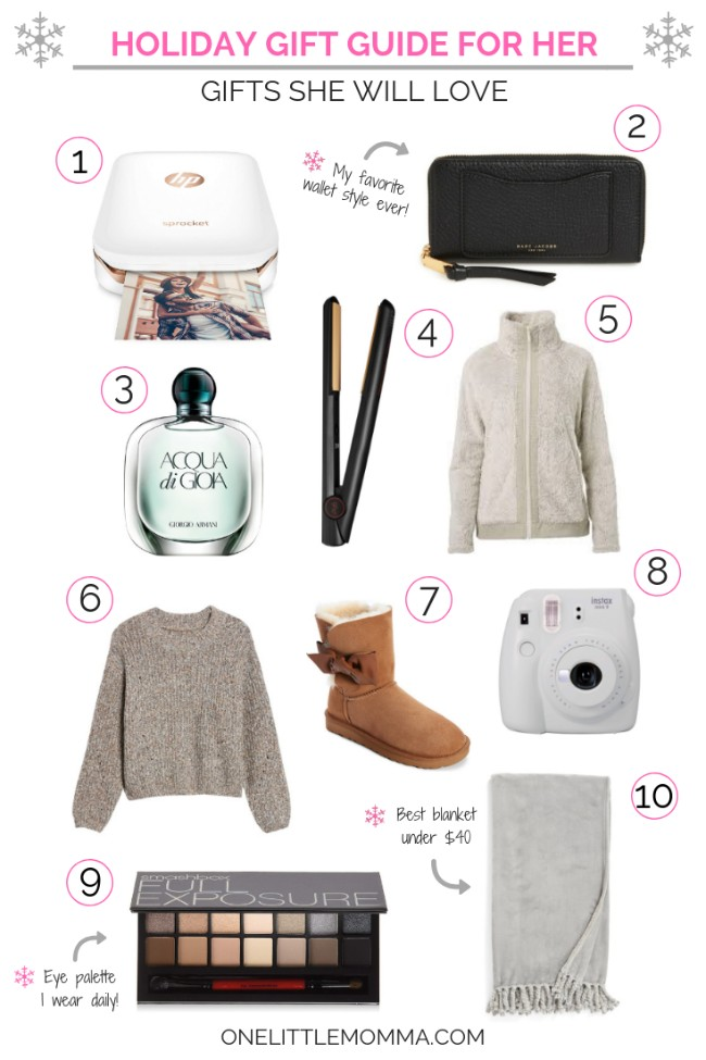 Holiday Gift Guide for Her - Gifts She Will Love - Recommended by One Little Momma