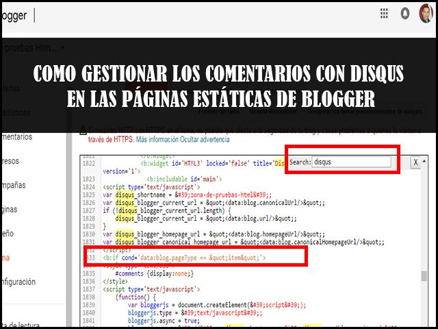 Como gestionar los comentarios con Disqus en las páginas estáticas de blogger