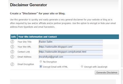 Cara Cepat Membuat Disclaimer untuk Website dan Blog