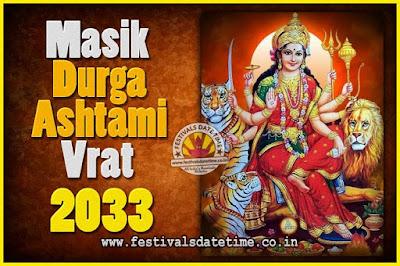 2033 Masik Durgashtami Vrat Date & Time, 2033 Masik Durgashtami Vrat Calendar
