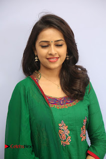 Actress Sri Divya Pictures in Green Salwar Kameez at Rayudu Team Meet  0056.JPG