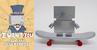 The Jelly Empire x Argonaut Resins Jelly Bot Mini Resin Figure and Skateboard