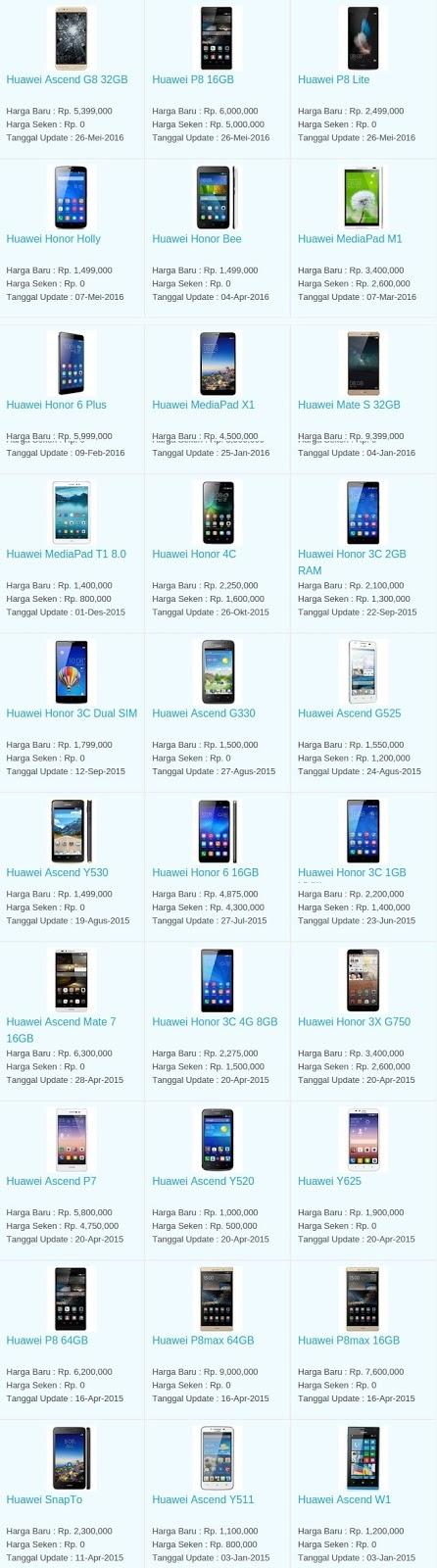 Daftar Harga Hp Terbaru Huawei Juni 2016