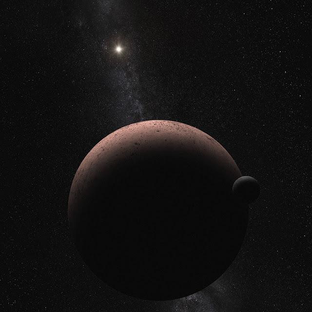 Makemake e sua lua MK 2 - ilustração