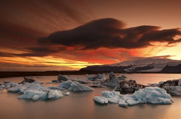 Iceland - Sunset at Jökulsárlón by Saleh AlRashaid