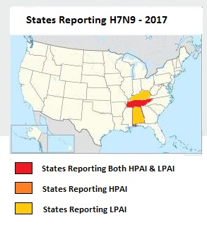 Avian Flu Diary Kentucky Becomes Rd State To Report LPAI HN - Us flu map 2017