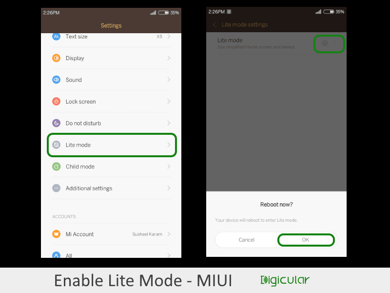How To Use Lite Mode On Xiaomi MIUI 7/ MIUI 10 - Digicular