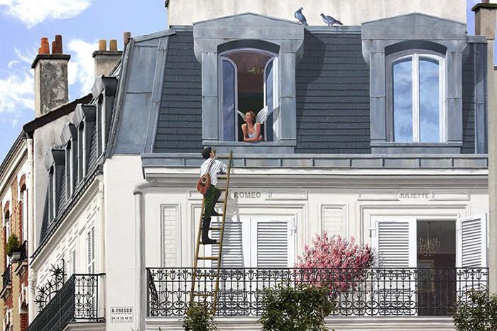 French Artist Transforms Boring City Walls Into Vibrant Scenes Full Of Life - Roméo et Juliette