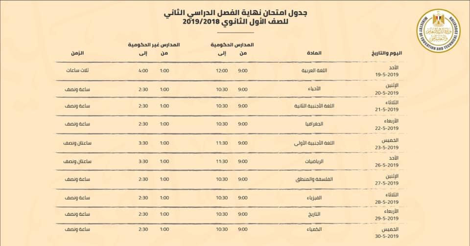 عاجل.. وزارة التربية والتعليم تنشر جدول امتحانات الصف الاول الثانوي النهائي منذ قليل رسميا