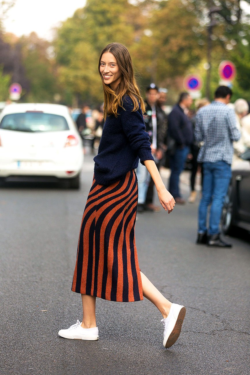 Fall Weekend Outfit Inspiration — Alana Zimmer Street Style, Navy Sweater, Striped Midi Skirt, White Sneakers