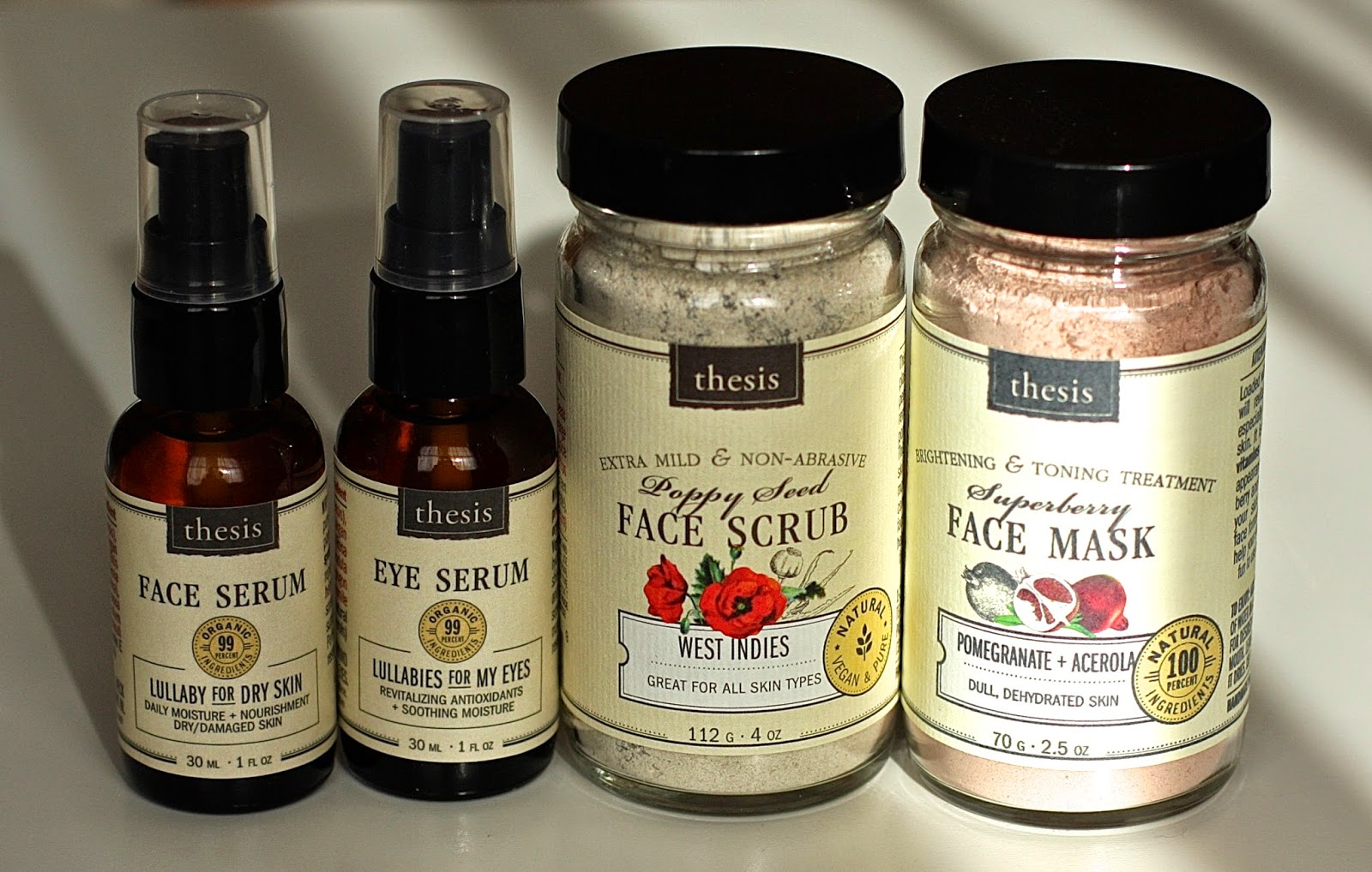 Thesis eyes and face serums, scrub and mask review
