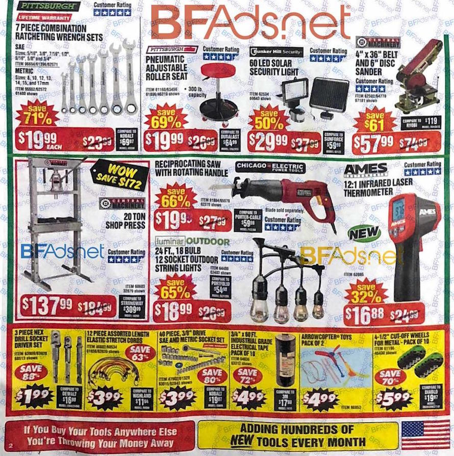 Harbor Freight Friday tools 2018 ad