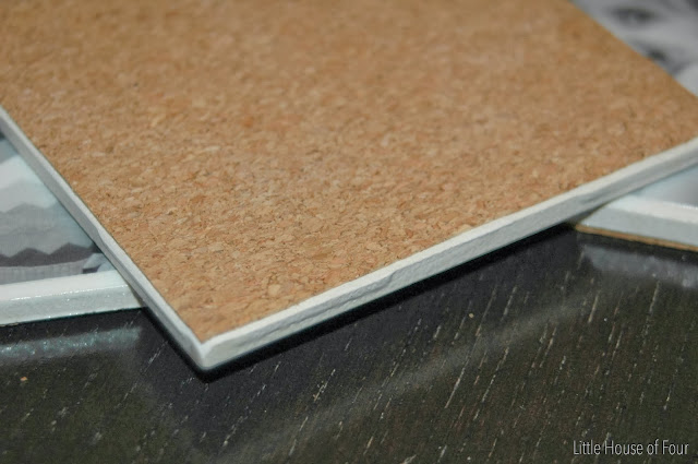 cork applied to the back of ceramic tiles