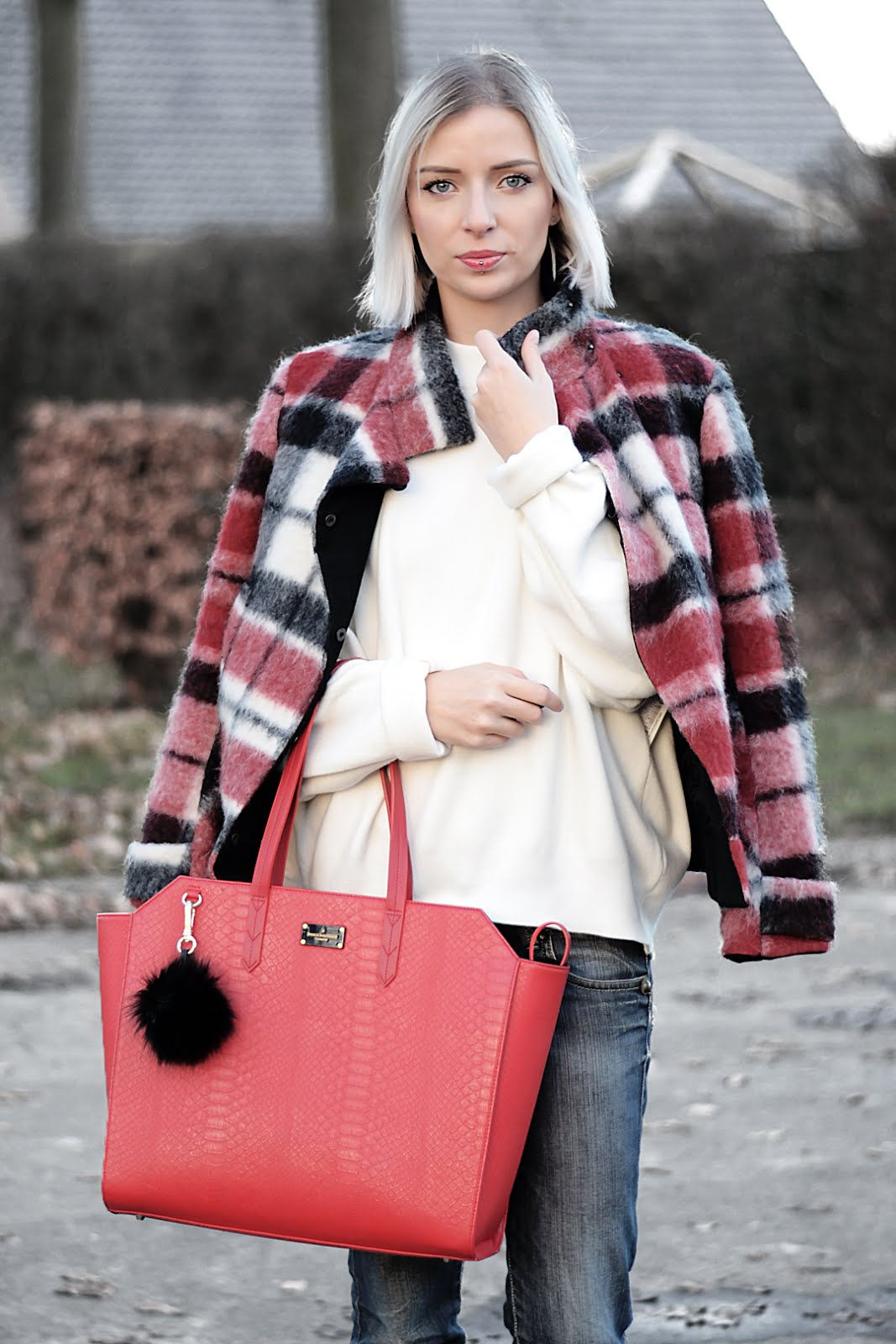 Red, tartan, jacket, checkered, pauls boutique, shopper, bag