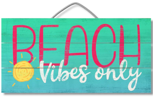 Colorful Beach Vibes Only Text Wooden Sign
