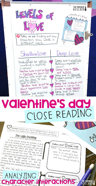 A close reading lesson for Valentine's Day, where students find and analyze examples of shallow love and deep love between characters in texts. Blog post from The Thinker Builder.
