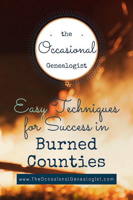 Easy research ideas for genealogy in a burned county. Burned counties aren't a dead end!