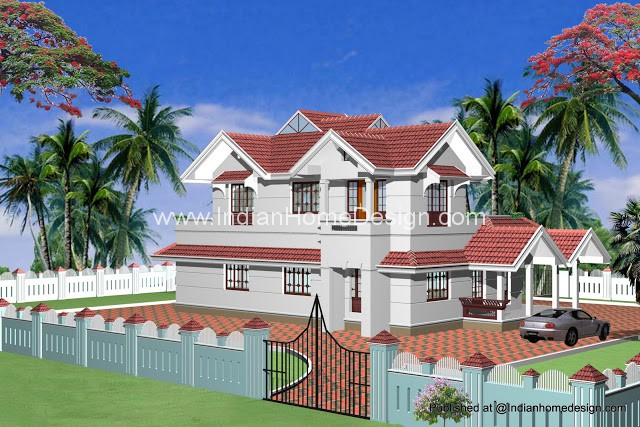 Indian model house plans Exterior Views   Indian Home design    All these sloped roof exterior design sync   coastal region as well as other heavy rain areas  Slopes are covered   tiles so that better visual impact
