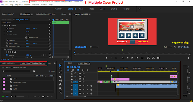 multiple open project premiere pro 2018