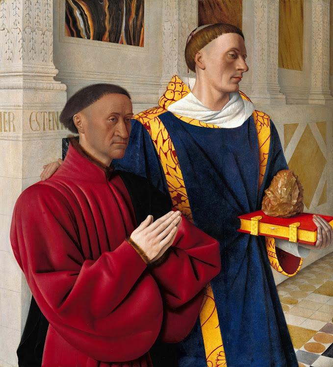 Jean Fouquet - Etienne Chevalier with Saint Stephen (c.1454)