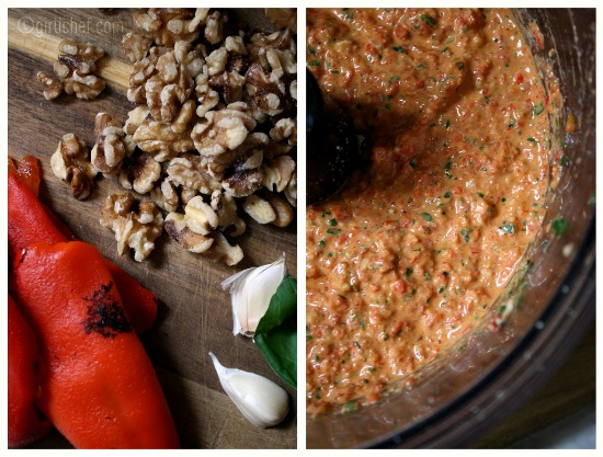 making Roasted Red Pepper and Walnut Pesto