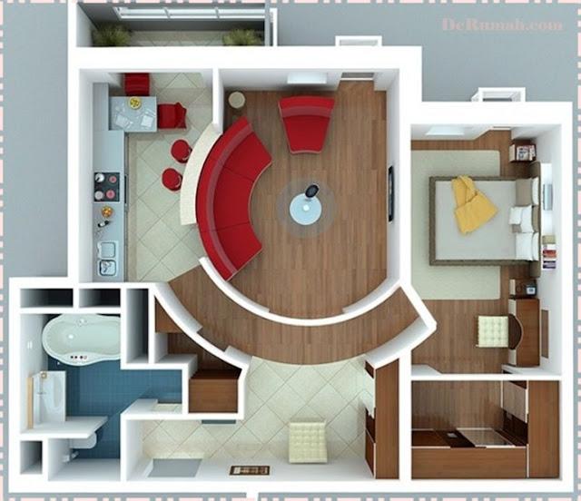 Contoh desain rumah sederhana minimalis satu lantai dengan sekat