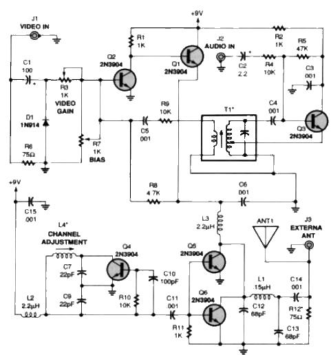 TV audio video transmitter Schematic Diagram