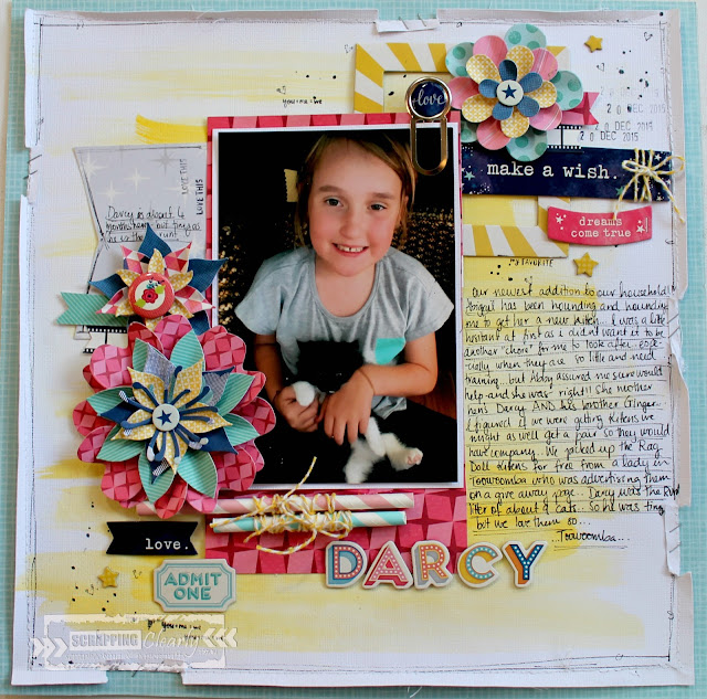 """Darcy"" layout by Bernii Miller for Scrapping Clearly design team using the Star Shine collection by Shimelle Lane."
