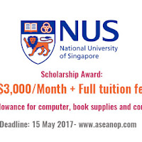 Master and PhD Scholarship at the National University of Singapore 2017