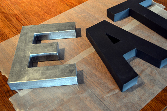 Just one coat of metallic paint gives these letters a zinc-like finish
