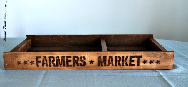 vintage pallet tray with finished stenciling and staining