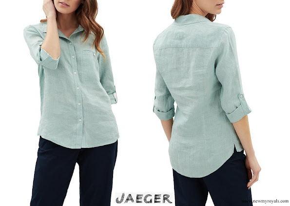 Kate Middleton wore Jaeger Linen Shirt Aqua
