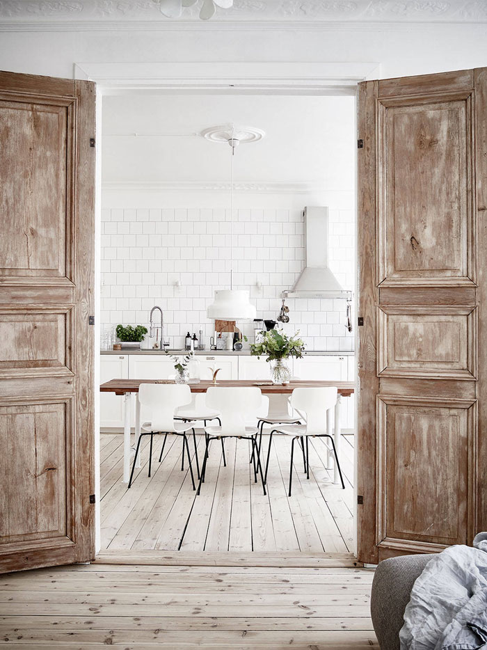 nordic living, dining room, white kitchen