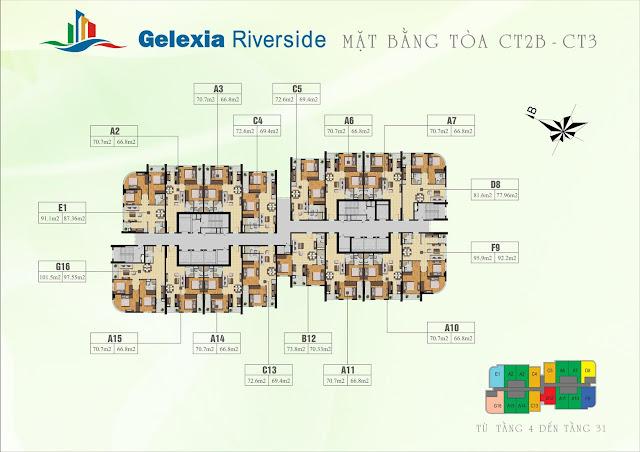 Mặt bằng tòa CT2A chung cư Gelexia Riverside