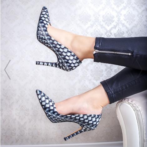 Pantofi dama cu toc subtire negri cu alb eleganti pentru tinute de zi