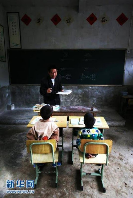 A teacher dedicates his life to a school of two children