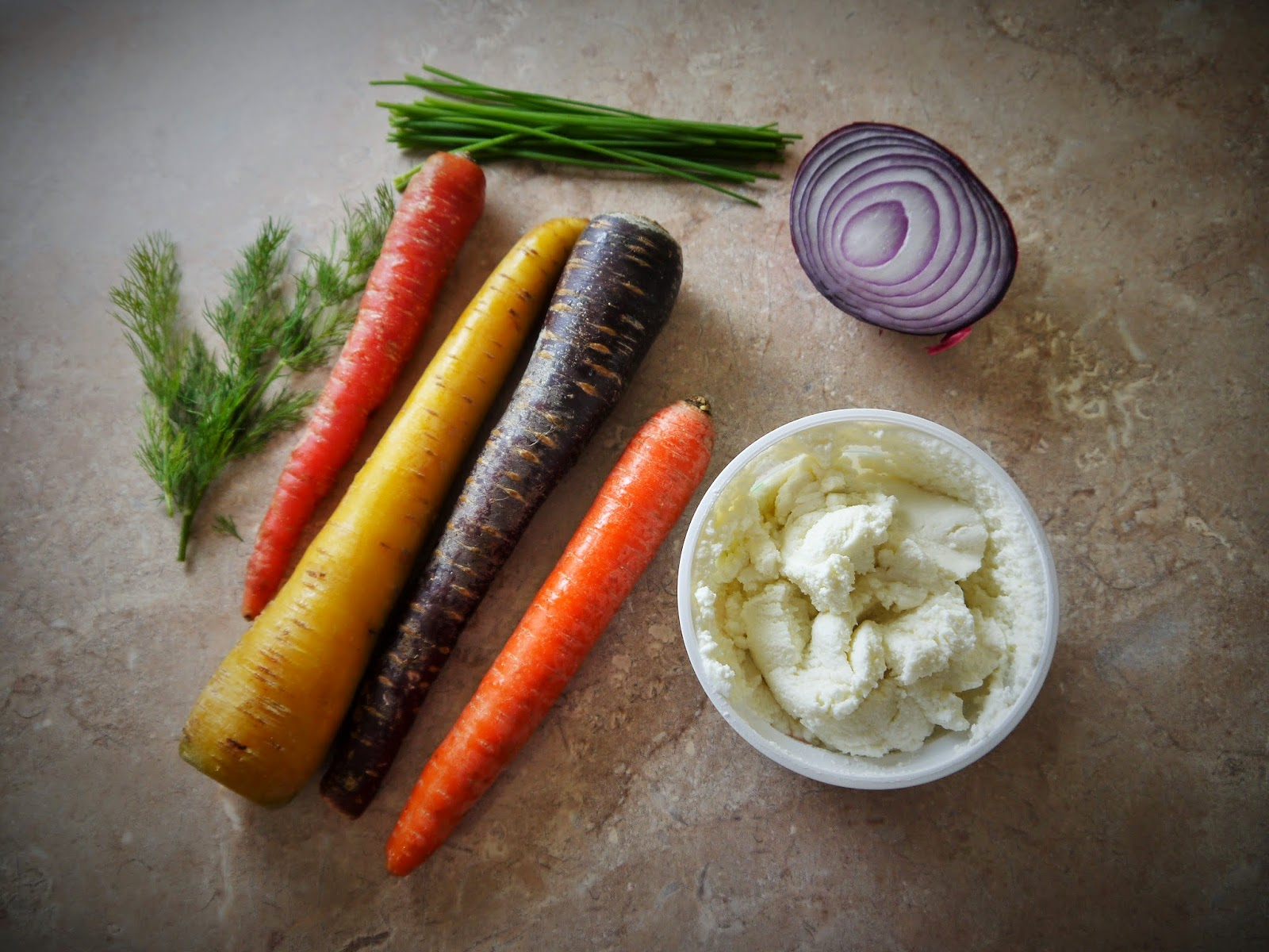 carrots, herbs, ricotta, red onion