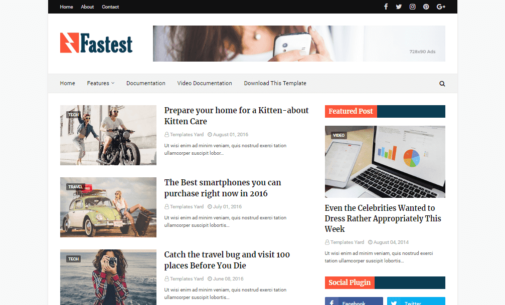 Fastest Fast Loading Blogger Template