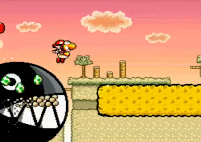 Wild Chomp Yoshi's Island Marching Milde's Castle 4-4 outside chasing auto-scroll eating platforms