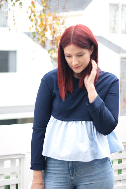 Romwe ruffle blouse, outfit, style diary, navy