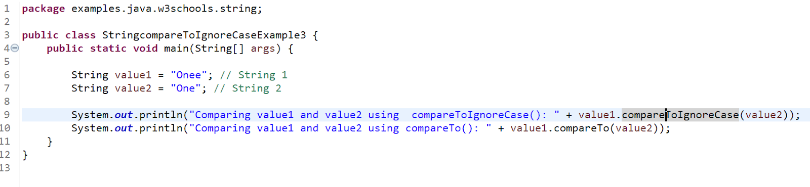 Java String compareToIgnoreCase() example 3