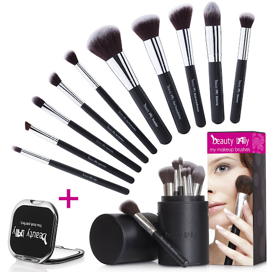 Beauty Lally 10 Pieces Makeup Brush Set with Black Case and Mirror
