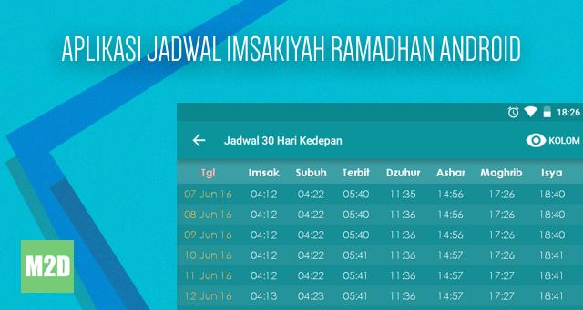 Aplikasi Jadwal Imsakiyah Ramadhan 2016 - 1437 H