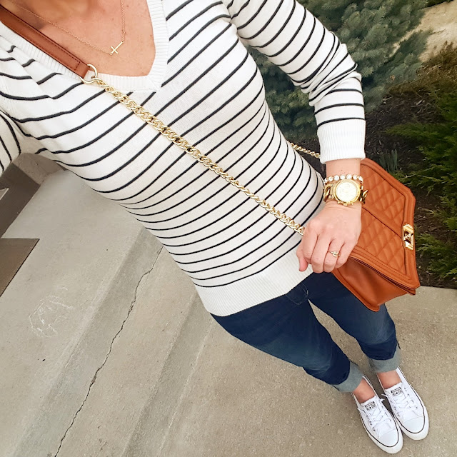Abound Sweater // Joe's Jeans Clean Cuffed Cropped Denim // Converse Tennis Shoes // Michael Kors Runway Watch (on sale in gold and tortoise + free shipping!) // ILY Couture Bracelet (similar only $9, regular $30!) // ILY Couture Necklace