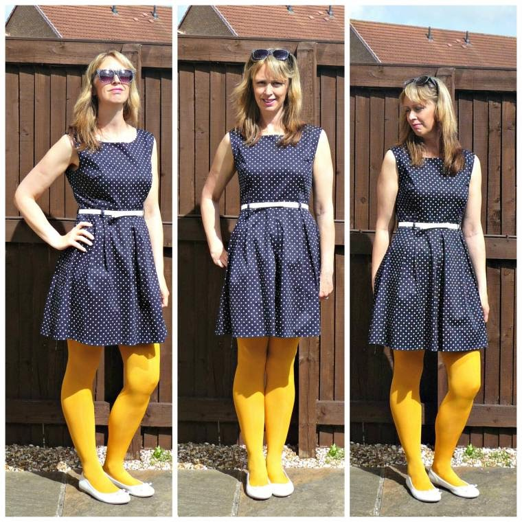 Apricot Online Review: Navy Blue Polka Dot Dress