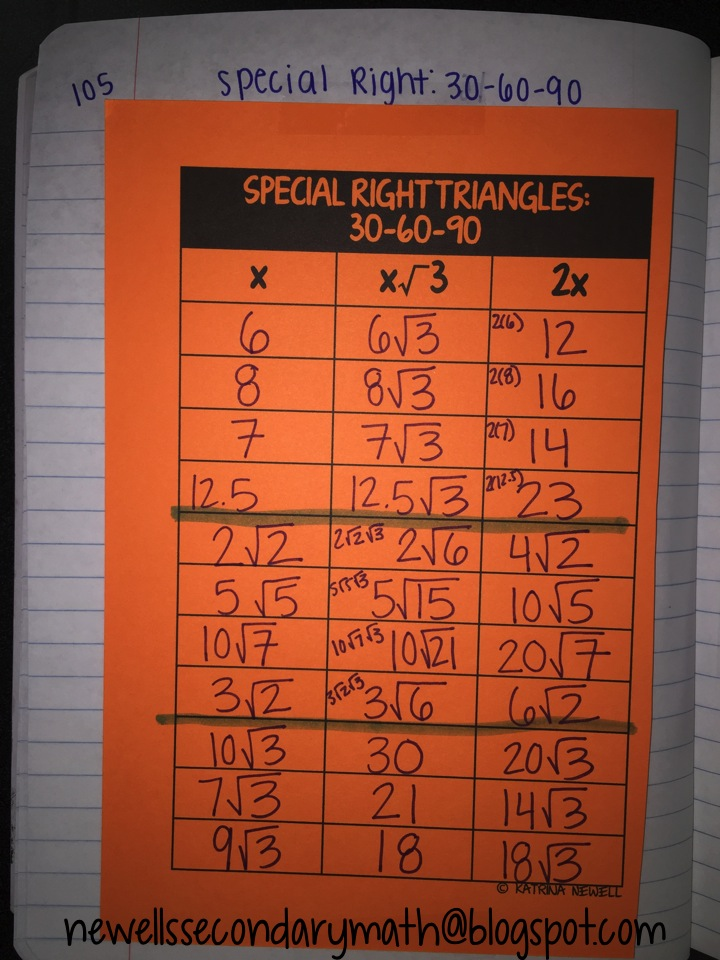 Better Questions Special Right Triangles Mrs Newell S Math